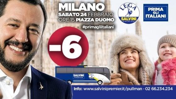 """Salvini, nei manifesti lo slogan """"Prima gli Italiani"""". Ma nelle foto ci sono cechi e slovacchi"""
